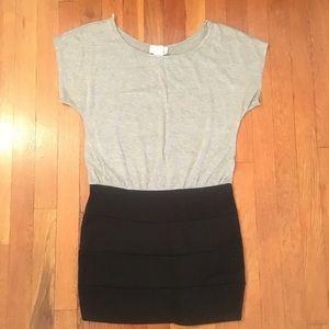 Dresses & Skirts - Gray Tee & Black Banded Skirt Mini Dress